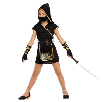 Kids Child Japan Samurai Black Gold Ninja Girl Costume Cosplay for Girls Carnival Purim Halloween Costumes Fancy Dress umorden child kids wonderland alice costume for girls teen girl maid lolita cosplay dress halloween carnival party costumes