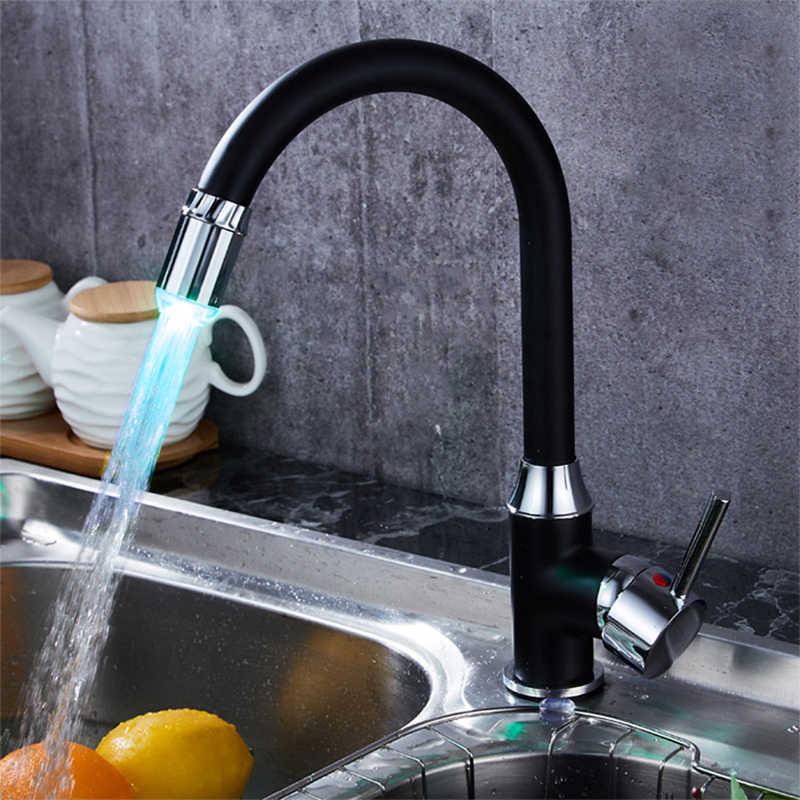 Creative 3 สไตล์อุณหภูมิ SENSOR ก๊อกน้ำ LED สมาร์ทก๊อกน้ำห้องครัวก๊อกน้ำ Miniature ก๊อกน้ำส่องสว่าง + อะแดปเตอร์