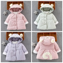 Autumn Winter Casual Fashion Baby Cartoon Heart-Shaped Printing Long Sleeve Hooded Parkas Kids Outerwear