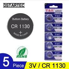 Piles bouton au Lithium 3V, 5 pièces, CR1130, BR1130, LM1130, DL1130, CR 1130, pour montre, jouets à distance, batterie 30mAh