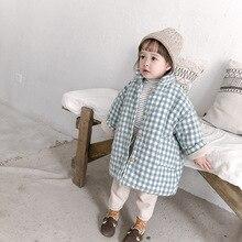 Милые зимние теплые стеганые пальто в клетку для девочек однобортные флисовые куртки с воротником-стойкой для мальчиков верхняя одежда
