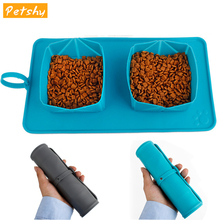 Petshy Foldable Pet Bowl for Cats feeder Double Bowls Eco-friendly Silicone Cat Dog Drinker Pet Products Animal Feeding Bowl
