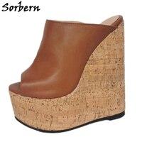 Sorbern 2020 Hot Wedge Slippers Summer Shoes Ladies Platform Cork Style Heel Open Toe Slides Women Size 11 Shoes Custom Colors