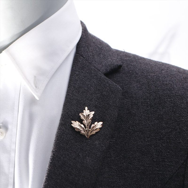 Elegant Brooches Simple Gold Silver Leaf Suit Clip Collar Pin Brooch Unisex H66