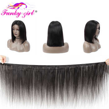 Funky Girl 13x4 Lace Front Human Hair Wigs Pre-Plucked Density 150% Brazilian Remy Straight Bob Lace Front Wig For Black Women