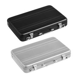 2 Stuks Aluminium Wachtwoord Box Card Case Mini Koffer Wachtwoord Aktetas-Silver & Black