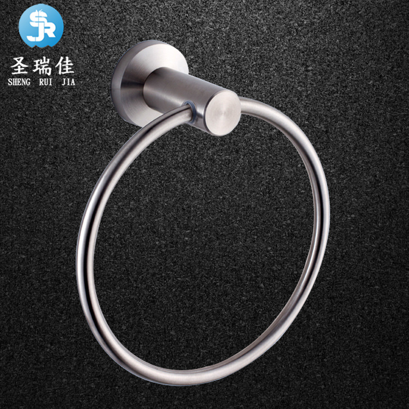 Shengruijia Bathroom SUS304 Stainless Steel Brushed Towel Ring 25 Circle Towel Ring Towel Rack Pendant Cross Border