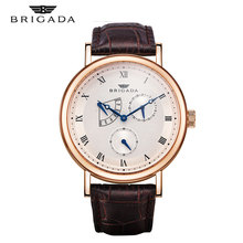 Watch Men Quartz Leather Waterproof Mens  Watches Luxury Brand BRIGADA Stainless Steel Date Clock Male Casual Wrist Gold