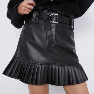RR Black PU Skirts Women Fashion Faux Leather Skirt Women Elegant Tie Belt Waist Mini Skirts Female Ladies IP(China)