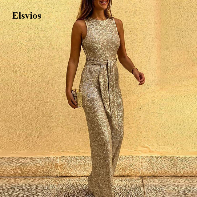 Spring Women Glitter Jumpsuit Sexy Backless Bandage Romper Overall Summer Sleeveless Shiny Belt Party Playsuit Bodysuit Clubwear 1