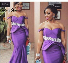 Sexy Purple Prom Dresses African Peplum Black Girl Prom Gowns Off The Shoulder Evening Dress 2018 Ladies Long Formal Dress New black stripe pattern elastic off shoulder sexy dress