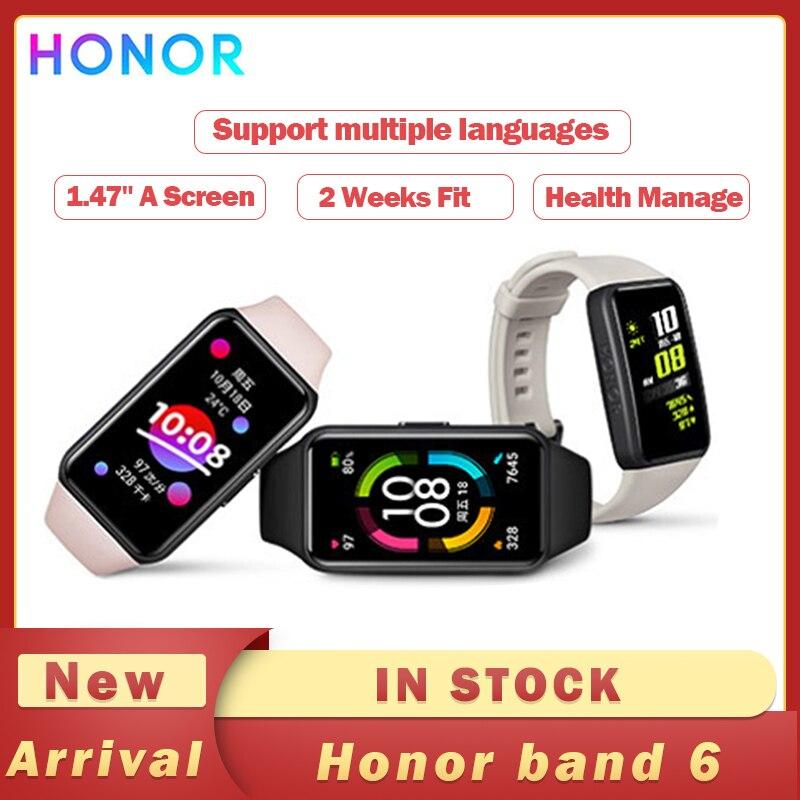 Оригинальный Смарт-браслет Honor Band 6 AMOLED Водонепроницаемый Фитнес-браслет для плавания с Bluetooth мониторинг сна и пульса музыкальные вызовы