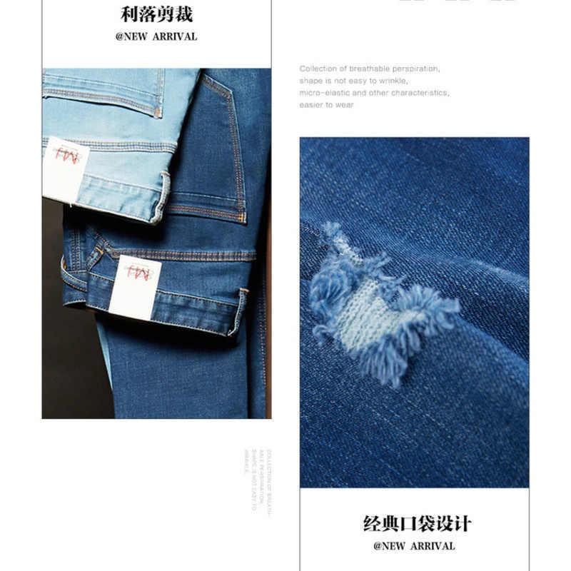 Metersbonwe, прямые джинсы для мужчин, 2019, повседневные джинсы, Осенние, новые, повседневные, молодежные, с дырками, дизайн, тренд, тонкие джинсы для мужчин, s штаны, мужские брюки