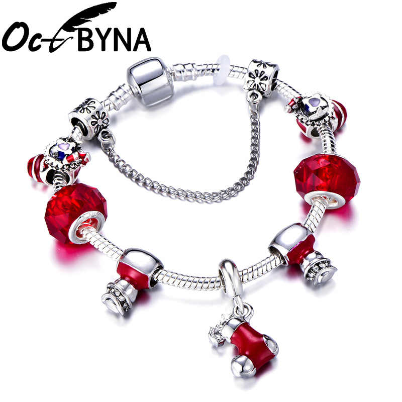 Octbyna รองเท้าคริสต์มาสจี้ Charm สร้อยข้อมือคริสตัลสีแดง Snowman & สร้อยข้อมือลูกปัดแก้วสำหรับผู้หญิงคริสต์มาสของขวัญ Dropshipping