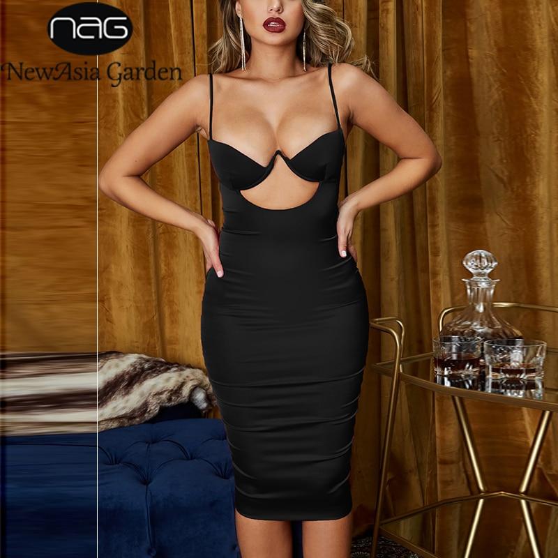 Newasia peito oco para fora sexy vestido feminino verão cintas de espaguete festa de aniversário bodycon vestido longo rosa vestido de cetim de ouro branco