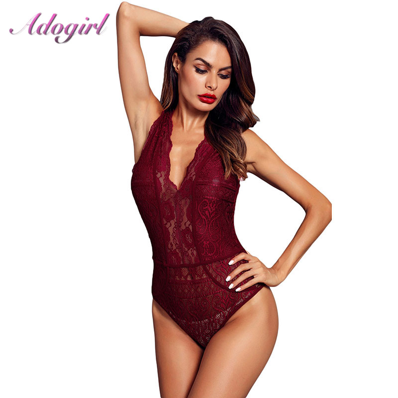Sheer Floral Lace Bodysuit Women Sexy Hollow Out Sleeveless Bodycon Jumpsuit Night Party Club Outfit Rompers Lady Body Tops