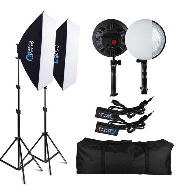 التصوير الفوتوغرافي Softbox الإضاءة كيت صور معدات الاستوديو الفوتوغرافي Softbox 50 سنتيمتر * 70 سنتيمتر 30W المستمر الصمام الباردة ضوء لصورة تصوير الفيديو