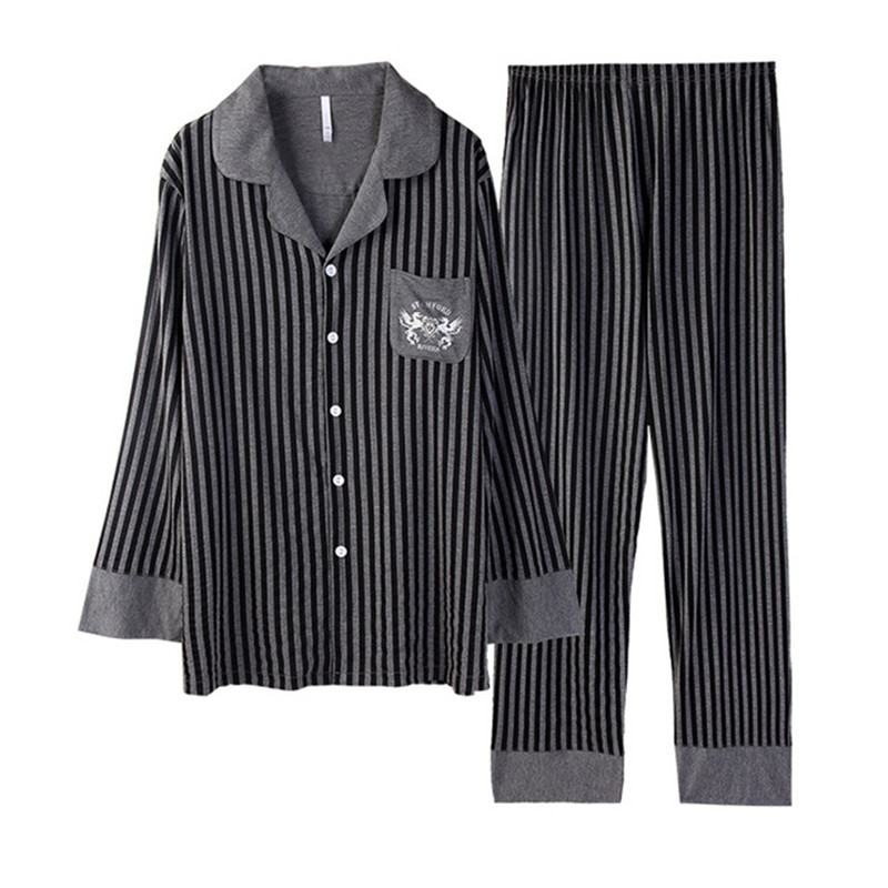 Winter Pajamas For Men Lapel Striped Sleepwear Sets Fashion Long Sleeve Loungwear Male Casual Homewear Plus Size 3XL DS50979