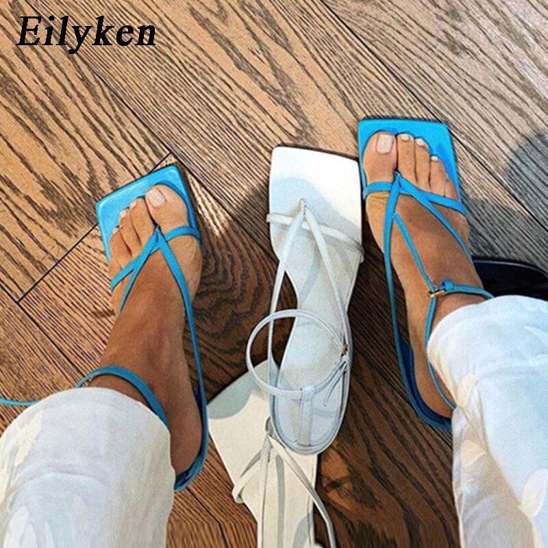Eilyken Summer New Fashion Pinch Narrow Band Women Gladiator Sandal Ladies Square Open Toe Ankle Buckle Strap Stiletto Heels