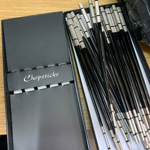 Image 5 - 5 Pairs Sushi Japanese Stainless Steel Acciaio Chopsticks Set With Gift Box Black Chinese Chop Stick Tableware Kitchen Tools