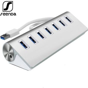 цена на SeenDa 7 Port Aluminum USB 3.0 HUB 5Gbps High Speed Power Adapter Multi USB 3.0 Hub USB Splitter For PC Laptop