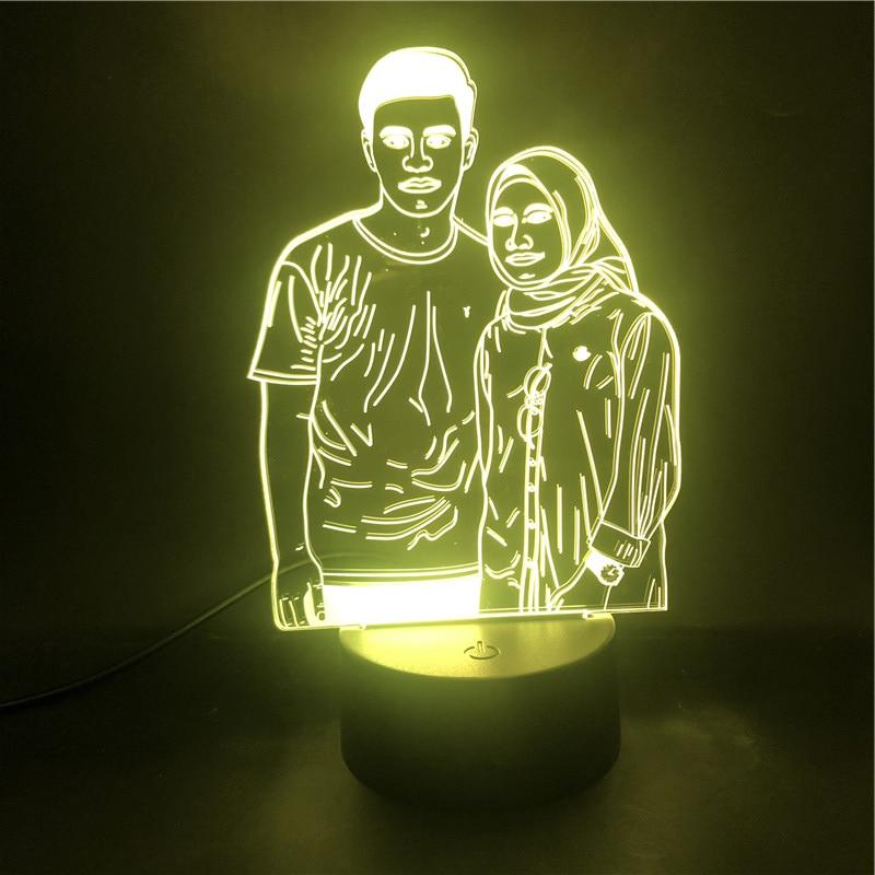 3D Lamp Couples Portrait Customization The Alarm Clock Base Nightlight Pretty Reward Battery Powered Usb Led Night Light Lamp