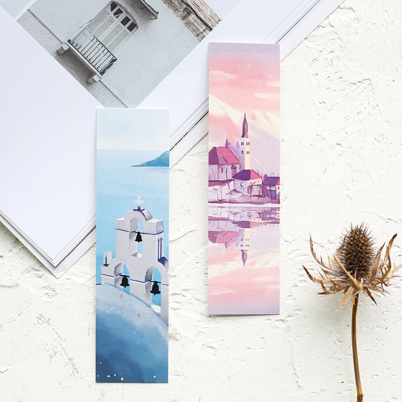 30 Sheets/set Beautiful Scenery Flower Bookmarks Paper Page Notes Message Card Book Marker School Supplies Stationery
