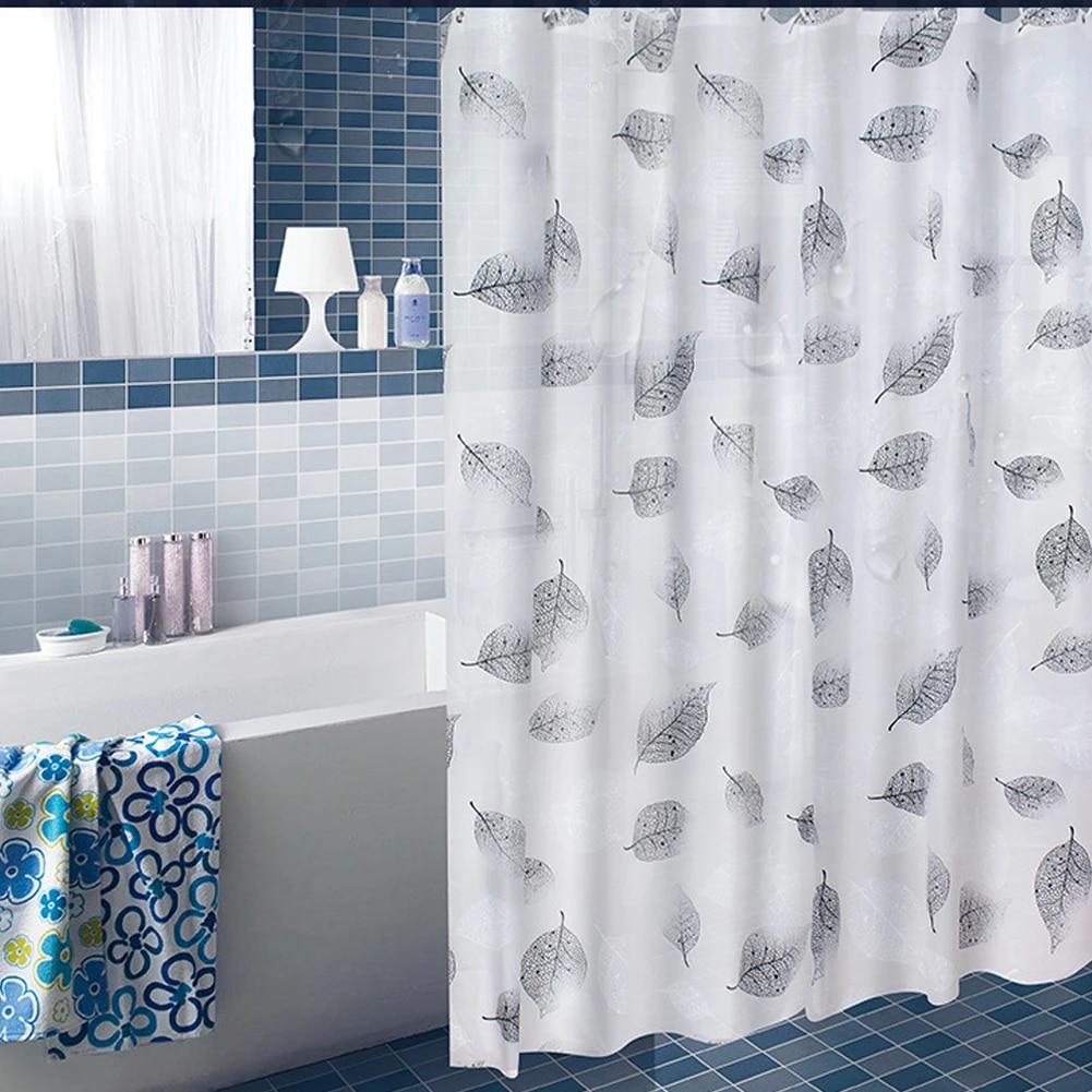modern shower curtain set leaves peva waterproof bath curtain with 12 hooks anti mildew shower curtains for bathroom shower room