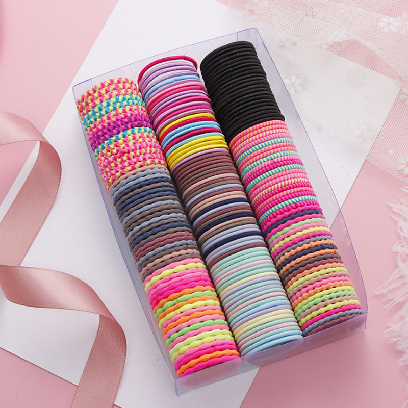 50PCS/Lot New Girls Cute Colorful Basic Elastic Hair Bands Tie Gum Scrunchie Ring Rubber Bands Children Fashion Hair Accessories