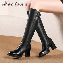 Купить с кэшбэком Meotina Winter Knee High Boots Women Natural Genuine Leather Buckle Thick High Heel Long Boots Zipper Round Toe Shoes Lady 34-39