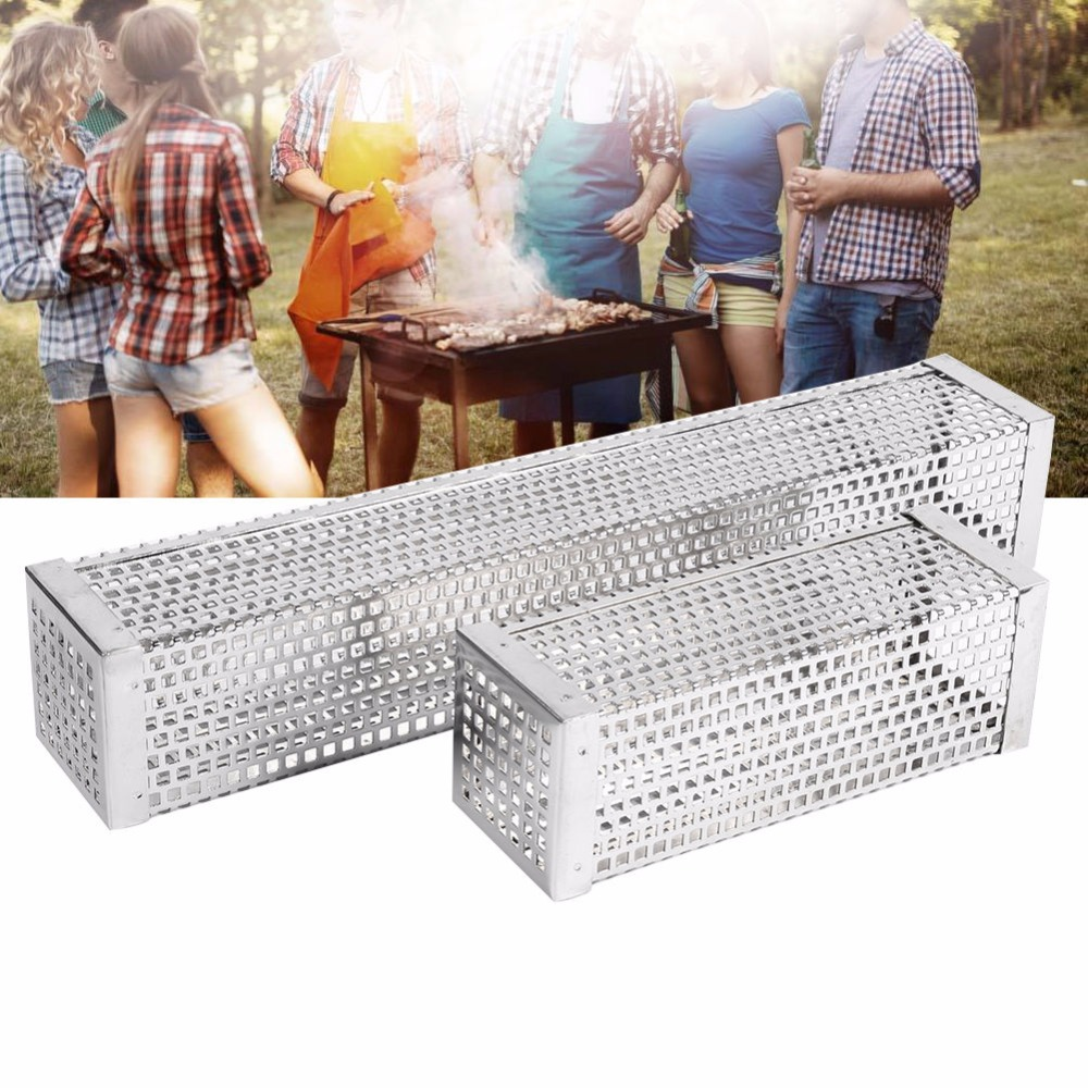 BBQ Grill Smoking Mesh Tube Stainless Steel Smoke Generator Wood Pellet Cube Barbecue Smoker Box Kitchen Outdoors Camping Tools image