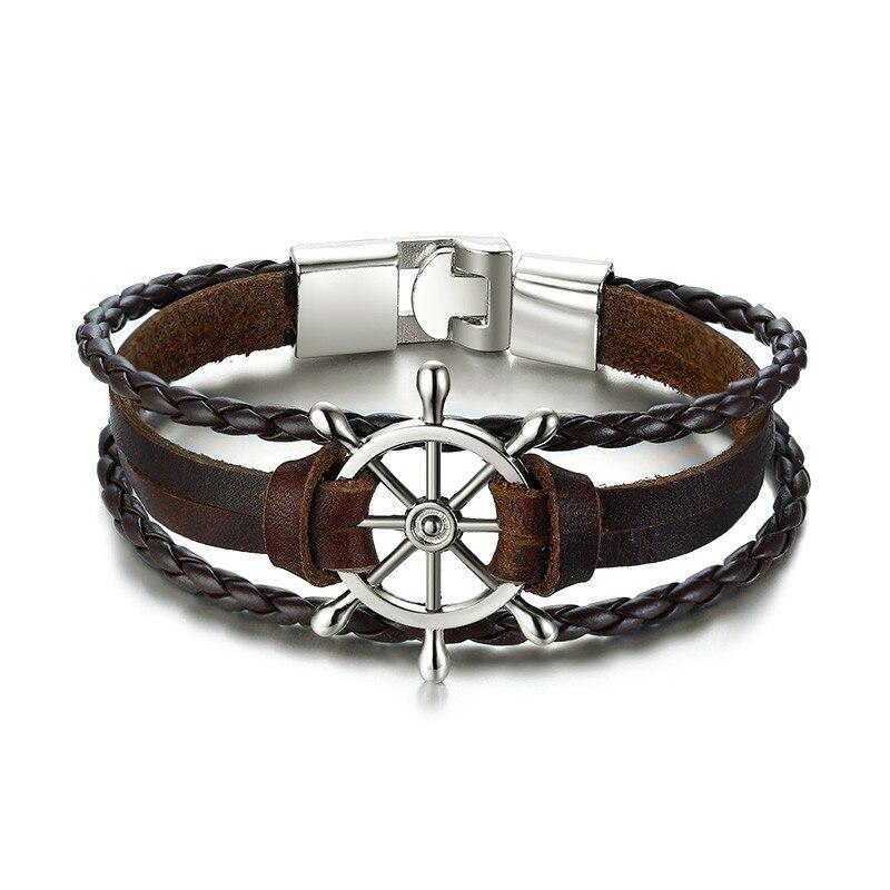 Bracelet en cuir gouvernail  24