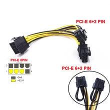 10 pçs/lote pci-express pcie 8 pinos para duplo 8 (6 + 2) pino vga placa de vídeo gráfico adaptador de alimentação cabo de alimentação pci-e cabo de alimentação 20cm