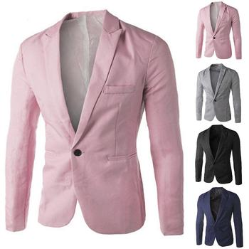 Men's Long Sleeve Lapel Suit Fashion Slim One-Button Blazer Business Rest Button Buckle Jacket New