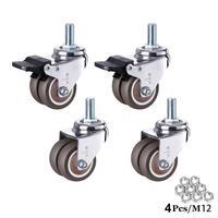 4 pçs/set 2 heavy rodízio de borracha resistente haste giratória rodas m12 x 25mm travamento rodízios rodízios substituição para móveis|Rodízios| |  -