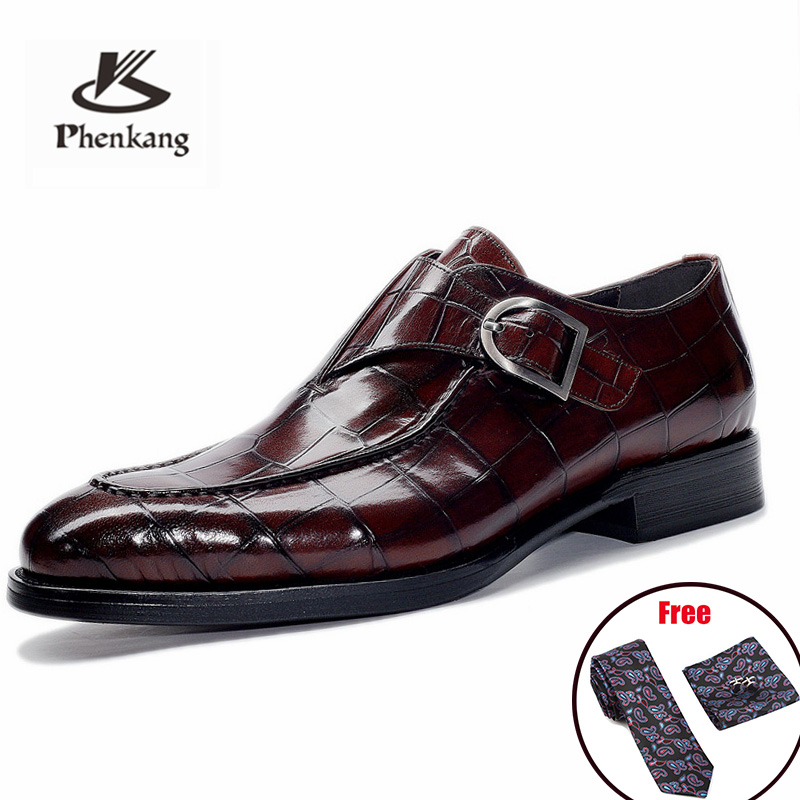Hommes en cuir chaussures robe d'affaires costume chaussures hommes marque Bullock en cuir véritable noir slip on mariage hommes chaussures Phenkang