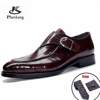 Men leather shoes business dress suit shoes men brand Bullock genuine leather black slipon wedding mens shoes Phenkang 2020