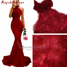 Applique Halter Mermaid Bridesmaid Dress Sequins Beaded Zipp