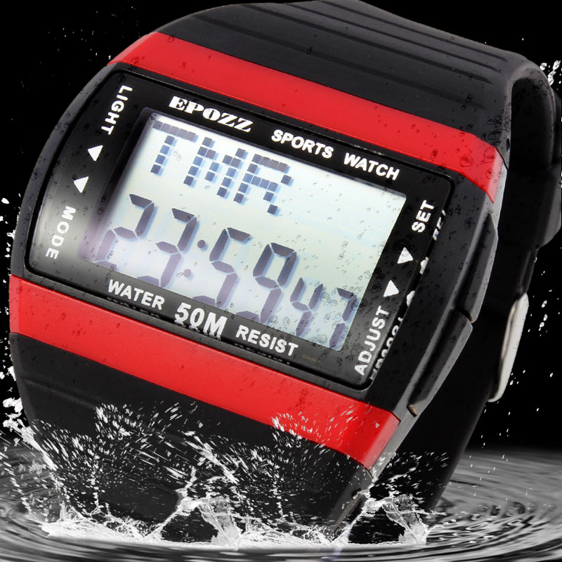 Epozz Fashion Brand Digital Student Men Sports Watches Swimming Waterproof 50 M Multi Function Led Display Back Light Rubber
