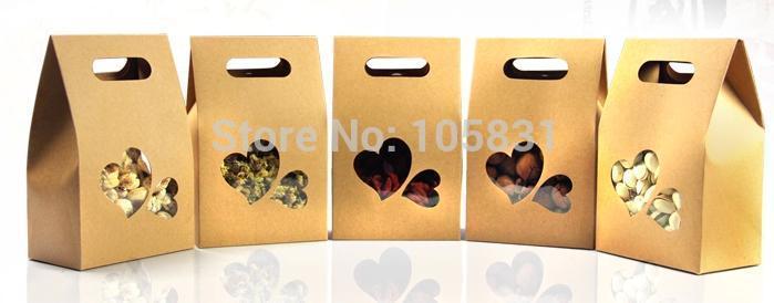 50X boîte de papier kraft écologique 10*15.5cm + 6cm avec fenêtre coeur tenez les faveurs de mariage de poche de nourriture peuvent personnaliser l'impression de logo - 4