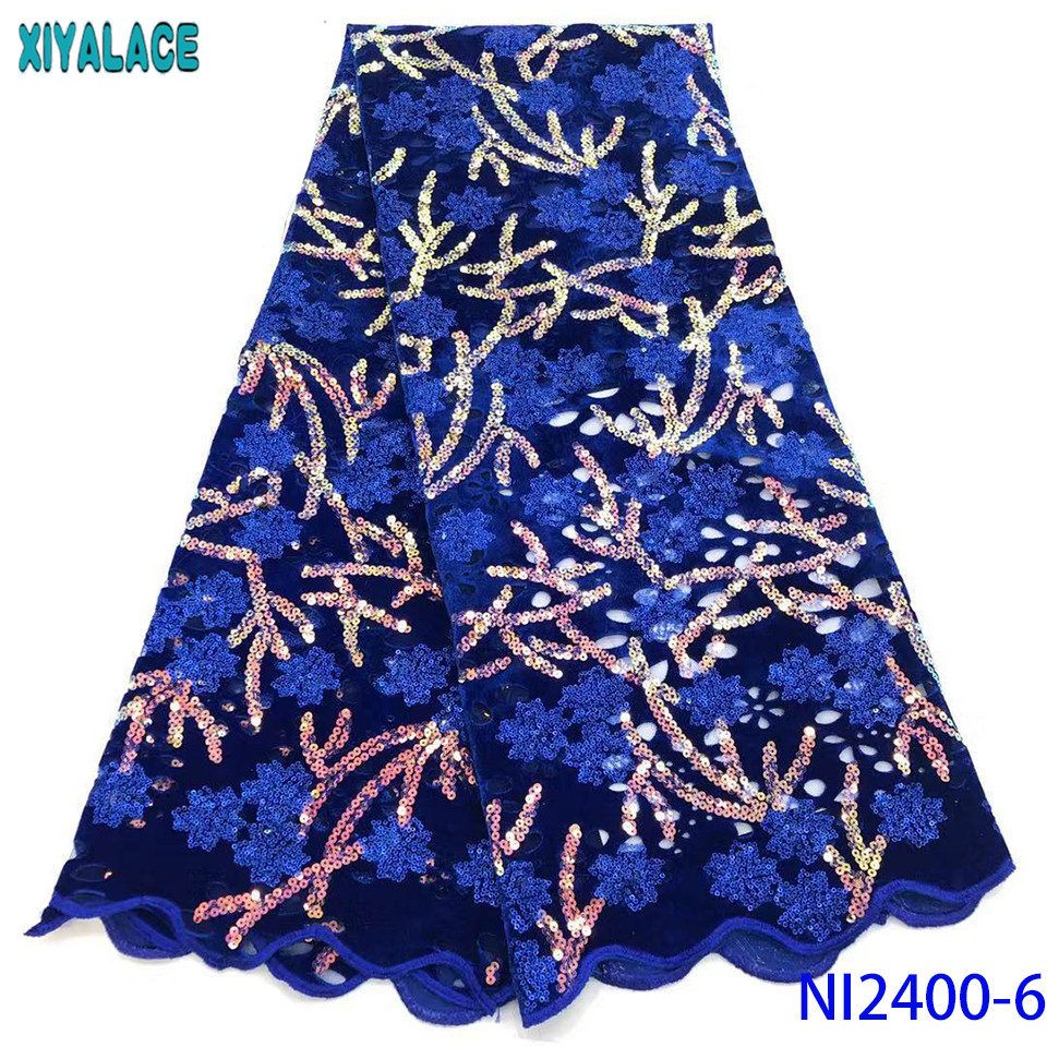 Royal BlueFrench Lace Fabric Hot Sale Velvet Lace Fabric 2019 High Quality African Laces With Sequins KSNI2400