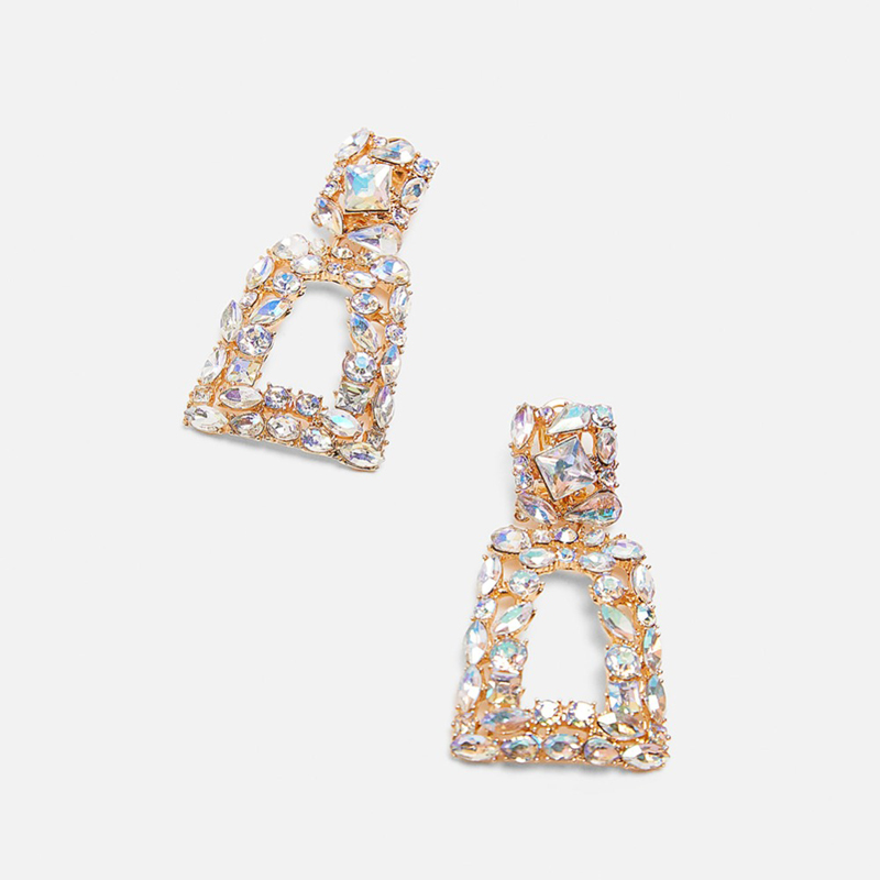 Ztech ZA Simulated pearl Drop Earrings Statement Square Crystal Metal Earrings Female Wedding Party Gifts Accessories Brincos in Drop Earrings from Jewelry Accessories