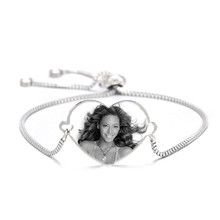 Box Chain bransoletki dla kobiet mężczyzn konfigurowalny grawerowanie laserowe zdjęcia na serce ze stali nierdzewnej spersonalizowane bransoletka biżuteria 2020