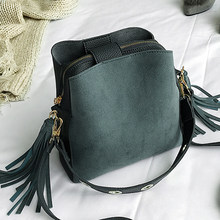 2019 Fashion Scrub Women Bucket Bag Vintage Tassel Messenger Bag High Quality Retro Shoulder Bag Simple Crossbody Bag Tote(China)
