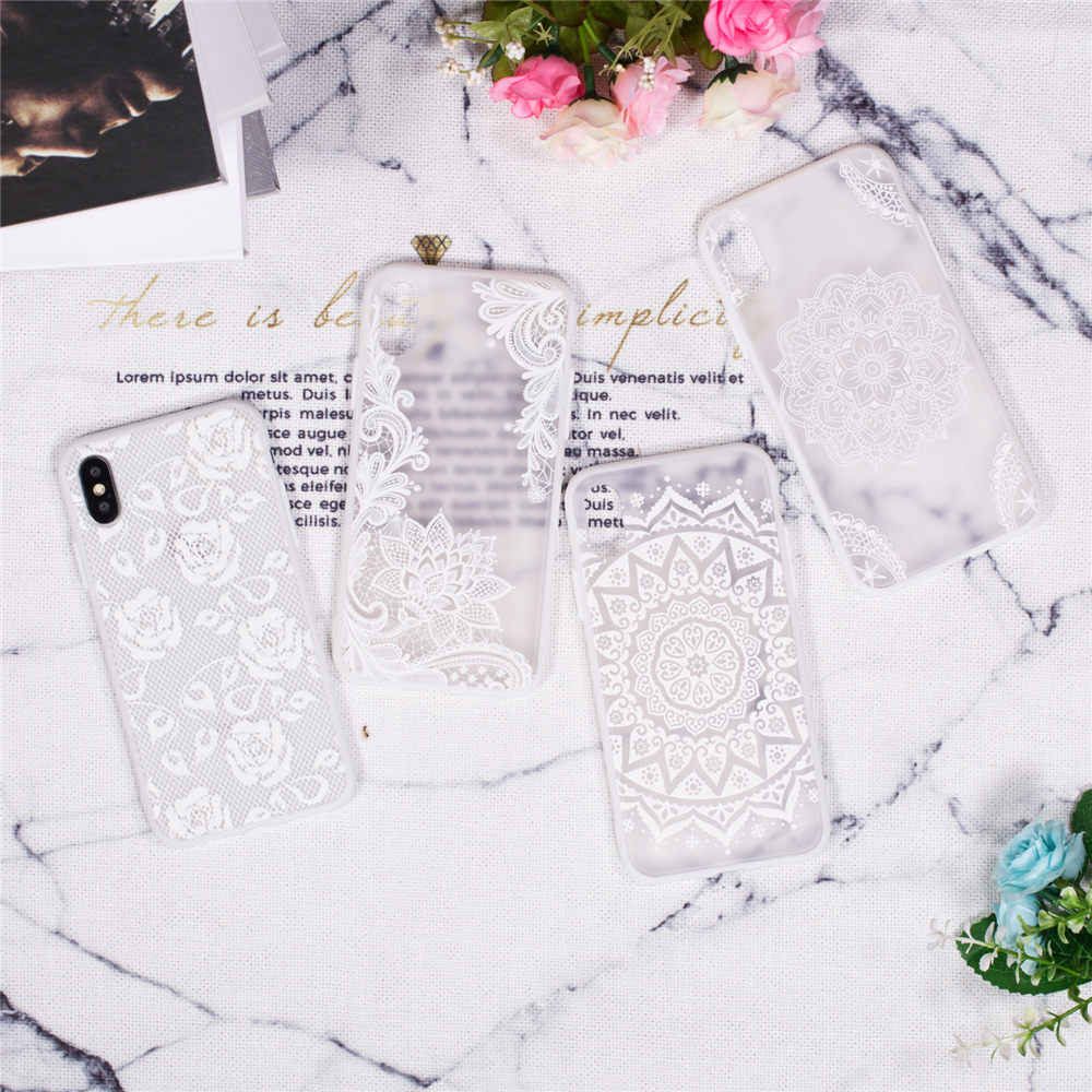 Jfwen flores do laço caso para o iphone xs max x 8 7 plus xr caso duro pc telefone casos para iphone x 7 8 6 s plus 5 5S se capa