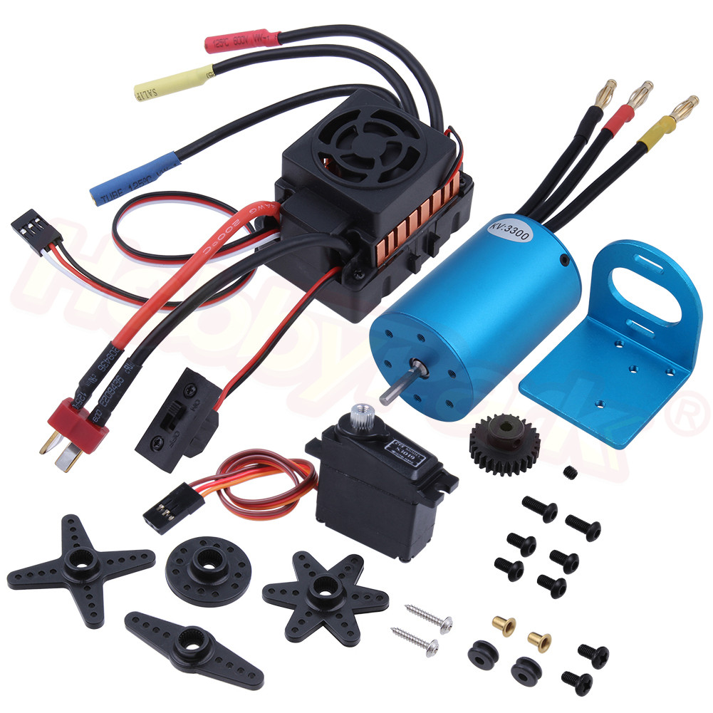 60A Waterproof ESC + 3300KV 540 Brushless Motor With Mounts + Servo Motor + 27T Pioion Gear For WLtoys A959B A969B A979B RC Car