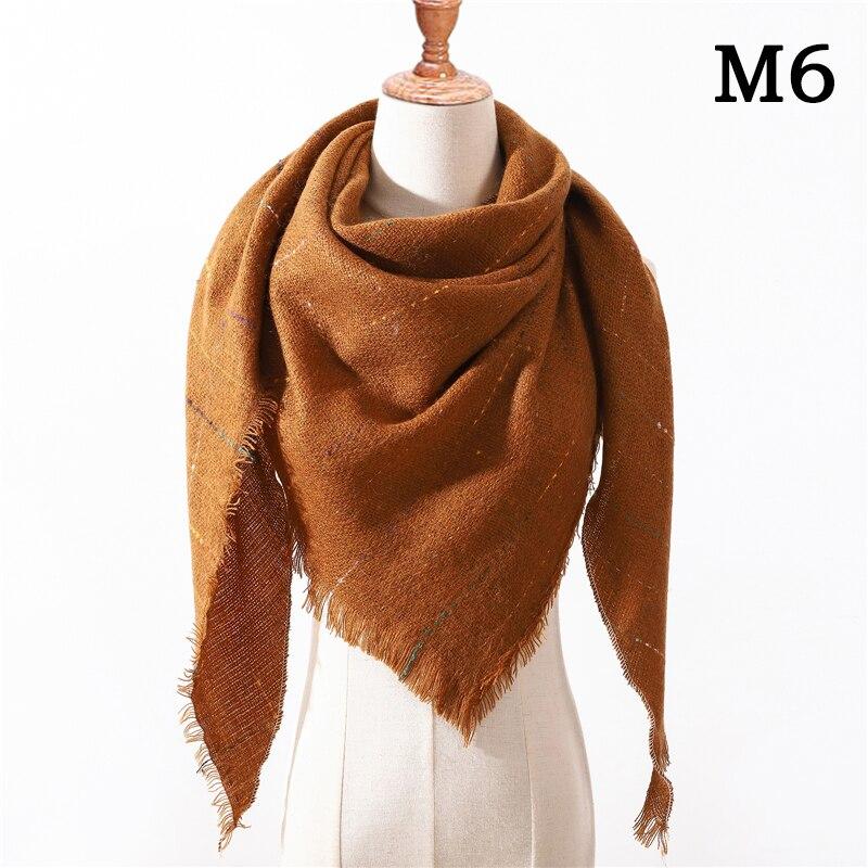 Женский зимний шарф в ретро стиле, кашемировые вязаные пашмины шали, женские мягкие треугольные шарфы, бандана, теплое одеяло, новинка - Цвет: M6