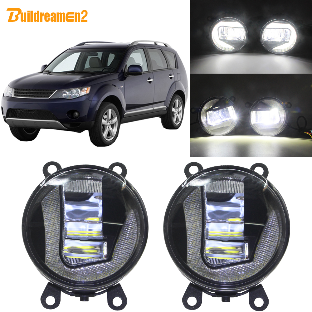 Buildreamen2 For <font><b>Mitsubishi</b></font> <font><b>Outlander</b></font> 2006-2012 Car 90mm LED Projector Front Fog <font><b>Light</b></font> + DRL Daytime Running Lamp White H11 12V image