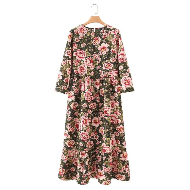 Vadim women dots print maxi dress pleated three quarter sleeve female casual straight dresses chic ankle length vestidos QB260 4
