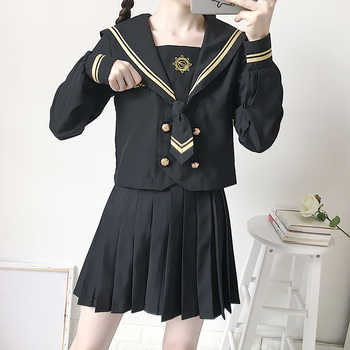 Japanese School Uniforms JK Suits Black Skirts Female Dresses Sailor Costumes Dress Girls Embroidery Costumes Clothes for Women